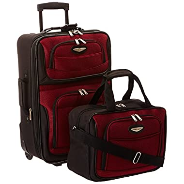 Traveler's Choice Amsterdam 2 Piece Carry-On Luggage Set in Burgundy
