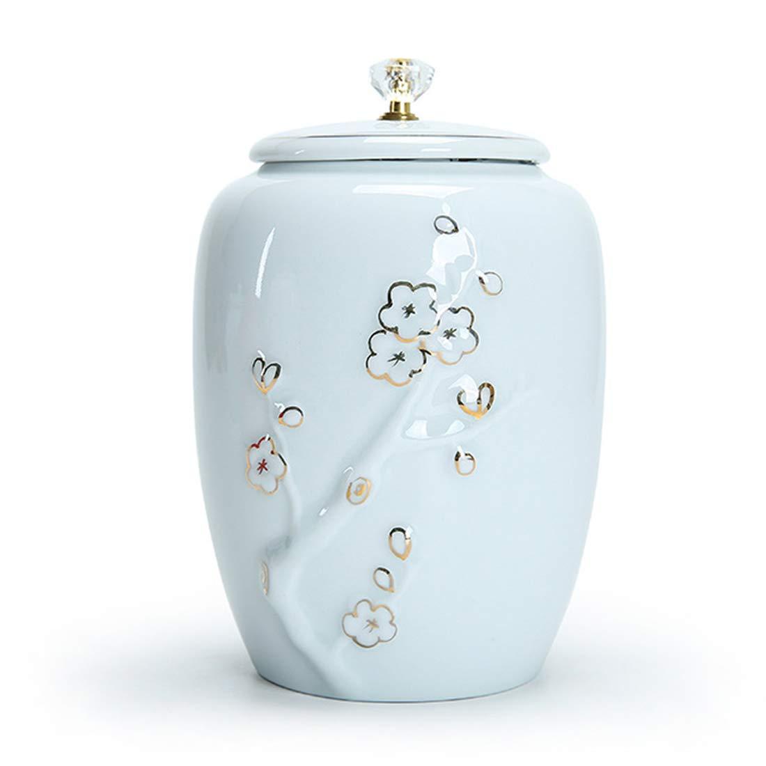 2 Ceramic Pet Casket HandPainted Plum Cremation Urn Crock Celadon