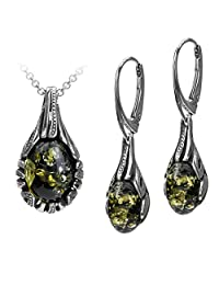 Sterling Silver Green Amber Drop Earrings Pendant Necklace Set 18 Inches