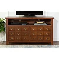WE Furniture 52 Apothecary Wood TV Console, Walnut
