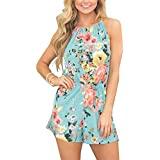 Relipop Women's Summer Floral Romper Casual Print Jumpsuit (Medium, Blue)