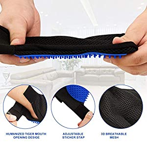 Upgraded Pet Grooming Gloves, Gentle Pet Hair Remover Glove Deshedding Brush, Washing and Massage Mitt with Enhanced Five Finger Design - Perfect for Dogs and Cats with Long/Short Hair