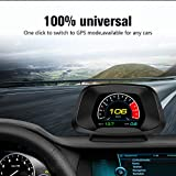 ECOOLBUY P19 Navigation Version HUD Head up Display GPS/OBD2 Dual System HD Color Screen Ai Intelligence GPS/OBD Computer Date/Speeding Warning/Goodle Map 4 in 1,Easy to Install
