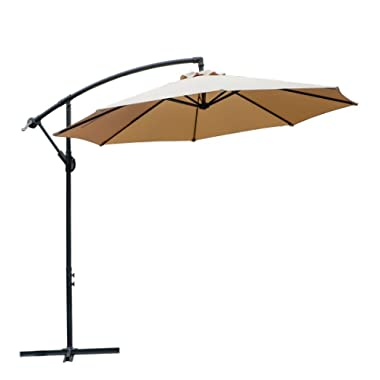 WARM HARBOR Offset Hanging Patio Umbrella Aluminum Outdoor Cantilever Umbrella Crank Lift (10 Ft-Beige)