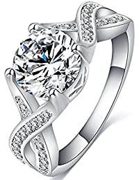 Jewelry Womens Luxurious 18K White Gold Plated Cubic Zirconia Infinity Love Solitaire Promise Eternity Ring Engagement Wedding Anniversary Band Her