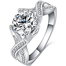 FENDINA Jewelry Womens Luxurious 18K White Gold Plated Cubic Zirconia Infinity Love Solitaire Promise Eternity Ring Engagement Wedding Anniversary Band Her