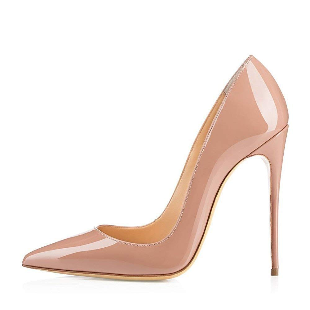 A-Nude CAITLIN-PAN Womens 12cm High Heels Pointed Toe Slip On Stilettos Leather Party Dress Pumps Size 5-15 US