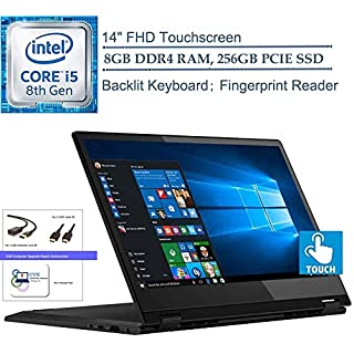 "Lenovo Flex 14 2-in-1 14"" FHD Touchscreen Laptop Computer, Intel Quad-Core i5-8265U Up to 3.4GHz (Beats i7-7500U), Fingerprint Reader, Windows 10, CUE Accessories (8GB DDR4 RAM, 256GB PCIE SSD)"