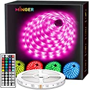 MINGER LED Strip Lights, RGB LED Light Strips with Remote and Control Box, Bright 5050 LEDs, 20 Colors and DIY