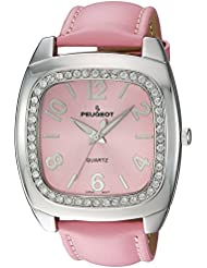 Peugeot Womens 310PK Silver-Tone Swarovski Crystal Accented Pink Leather Strap Watch