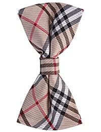 Scott Allan Mens 100% Silk Plaid Bow Tie - Brown/Red