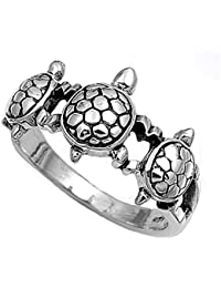 Sterling Silver Women's Turtle Ring Cute 925 New Fashion Band 11mm Sizes 5-11