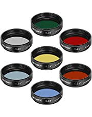 Neewer Telescopische maanfilter, CPL-filter, 5 kleurenfilterset (rood, oranje, geel, groen, blauw), oculair filter ter verbetering van de definitie en resolutie in de planetaire maanobservatie.