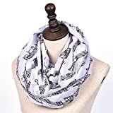Nuanbaby Womens Infinity Scarves Fashion Music Note Print Loop Circle Scarf
