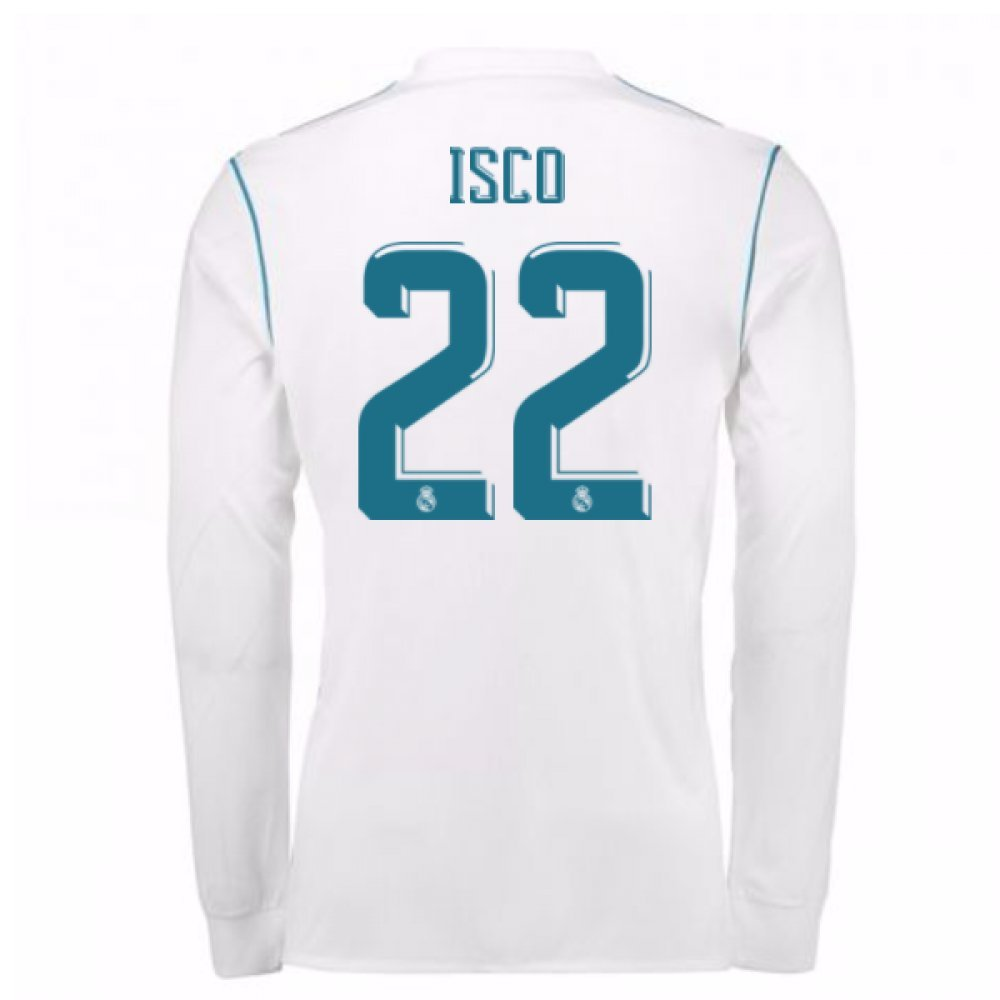 2017-18 Real Madrid Long Sleeve Home Football Soccer T-Shirt Trikot (ISCO 22)