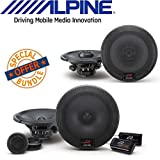 Alpine R-Series 6.5 Inch 300 Watt Coaxial 2-Way Car Audio Speakers, Alpine R-Series 6.5 Inch 300 Watt Component 2-Way Car Speakers