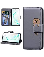 Miagon Animal Flip Case for Samsung Galaxy A70S,Wallet PU Leather TPU Cover Design with Stand Magnetic Card Slots Shockproof Folio Gel Bumper,Gray