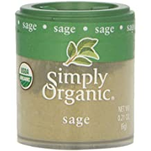 Simply Organic Sage Leaf Ground Certified Organic, 0.21-Ounce Containers (Pack of 6)