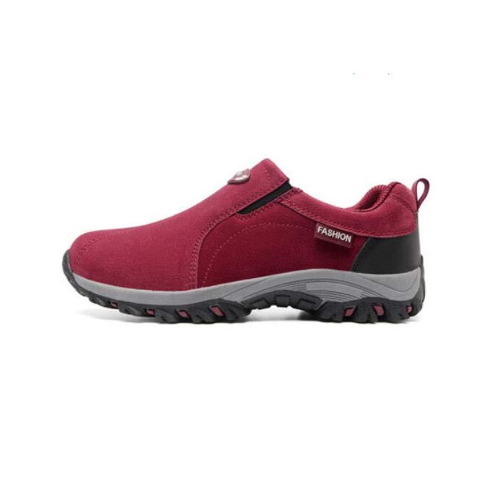 FH Outdoor-Schuhe Leichte Turnschuhe Damenschuhe Low-Top Wanderschuhe Wandern Breathable Einbeinige Schuhe (Farbe   Wine rot Größe   EU38 UK5.5 CN38)