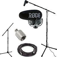 RODE VideoMic Pro+ w/ Rycote Studio Boom Kit - VMP+, Boom Stand, Adapter, and 25 Cable