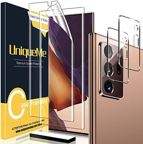[2+2 Pack] UniqueMe 2 pack Soft TPU Screen Protector and 2 pack Tempered Glass Camera Lens Protector for Samsung Galaxy Note 20 Ultra 6.9″,HD Clarity [Case Friendly][Bubble Free] [Anti-slip tool]