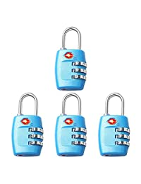 Newtion Tsa Lock 3 Digit Combination for Luggage Suitcase Security TSA Approved Padlock (BLUE*4)