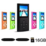 RHDTShop MP3 MP4 Player with a Internal 16GB Card, Ultra Slim 1.7 inch LCD Screen, Support UP to 32GB Card, Portable Digital Music Player, Video Player, Voice Recorder, FM Radio, E-Book,Black