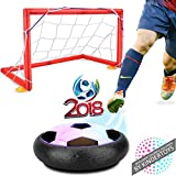 Kids Toys Soccer Goal Set Hover Football with 2 Gates for Kid Christmas Gifts Sports Boys Girls Air Power Training Ball Indoor Outdoor Disk Game with LED Lights and Mini Screwdriver