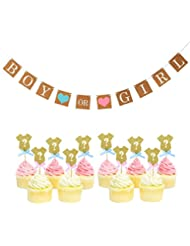 Set of 24 Glitter Gender Reveal Cupcake Toppers and Boy or Girl Banner Baby Shower Party Decors