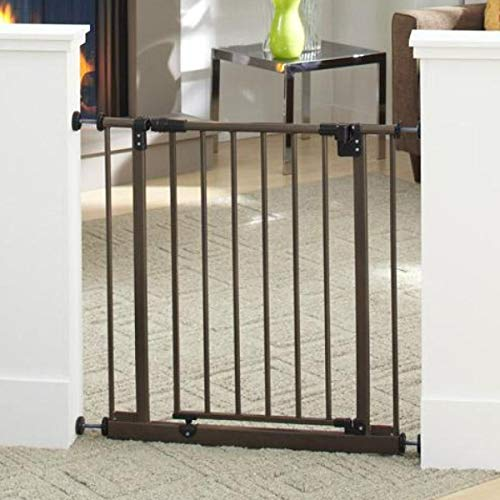 "North States 38.5"" Wide Easy-Close Baby Gate: The Multi-Directional Swing gate with Triple Locking System - Ideal for doorways or Between Rooms. Pressure Mount. Fits 28""-38.5"" Wide (29"" Tall, Bronze)"