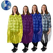 ALL NEW! Emergency Disposable Rain Ponchos - Raincoat style , featuring front Snaps, extra long Sleeves, and Hood for Easy, Fast, and Practical use, for adults and teens, (4 pack)