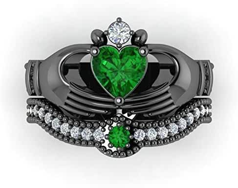 Gy Jewelry Heart Emerald Black Gold Filled Women's Wedding Ring Sets Claddagh Ring Gifts