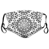 Floral Mandala in Black and White Colors Reusable Face Nose Mouth Cover with Adjustable Earloops Dust Mouth Mask for Kids Women Men