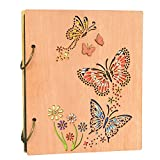 Photo Album 4 x 6 Butterfly and Flowers Design 120 Photos Wooden Cover Photo Book