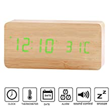 Wooden Smart Alarm Clock, Kolis Modern Stylish Wood-shaped Voice Control Digital Desk Alarm Clock Displays Time Calendar and Temperature with Soft Night Light LED, Upgrade Edition (Wooden/Green)