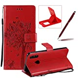 Strap Leather Case for Huawei P Smart 2019,[Red Solid Color] Stand Flip Case for Huawei P Smart 2019,Herzzer Premium Elegant [Embossed Butterfly Tree Cat Painted] Fold Wallet Folio Smart Case
