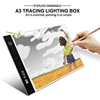 A3 Tracing Light Box, Stepless Brightness Control with Memory Function, Elfeland Portable Ultra-thin Light Panel LED Light Pad Copy Board, USB Power Cable, for Drawing, Sketching, Animation