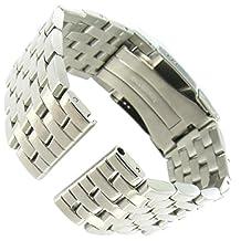 24mm deBeer Breitling Navitimer Style Soild Link FoldOver Buckle Mens Watch Band