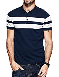 Branded Men's Half Sleeve Navy Blue With White Contrast Striped Polo T-Shirt