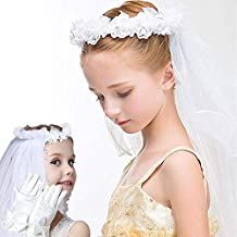 WISSBLUE First Holy Communion Veils for Girls, White Floral Communion Veil, Veil for Kids, First Communion Accessories, Flower Girls Gloves and Veil