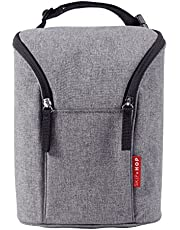 Skip Hop Insulated Breastmilk Cooler And Double Baby Bottle Bag, Heather Grey