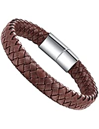 Mens Wide Braided Leather Bangle Bracelet Wristband For Women With Magnetic Box Clasp 7.5-8.5 Inch