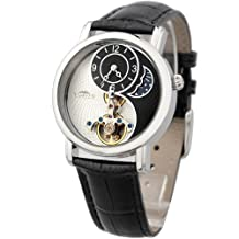 TIME100 Unisex Women's Men's Automatic Mechanical Watches Black Leather W60012M