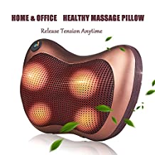 Massage Pillow Doremy Soothing Shiatsu Massager Deep Kneading Massage Therapy with 8 Heated Rotating Nodes Release Tension Relieve Back Neck Shoulder Foot Pain for Car, Home, or Office (Brown)