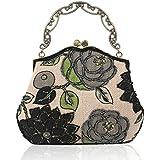 Womens Vintage Clutch Handbag Beaded Flower Evening Bags (Black)