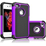 Tekcoo For iPhone 4S Case, Tekcoo iPhone 4/4G Cover, [Tmajor] Shock Absorbing Hybrid Best Impact Defender Rugged Slim Grip Bumper Cover Shell Plastic Outer & Rubber Silicone Inner [Purple/Black]