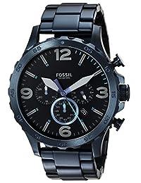 Fossil Men's '50mm Nate' Quartz Stainless Steel Casual Watch, Color:Blue (Model: JR1530)