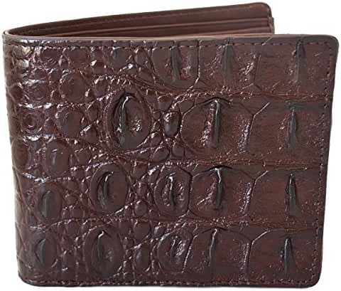Authentic M Crocodile Skin Men's Bifold Backbone Leather Dark Brown Wallet
