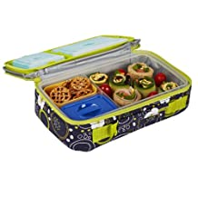 Fit & Fresh Kids Bento Lunch Kit with Insulated Bag and Ice Packs, Cherry Dots