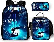 3Pcs Fortnite Backpack for Boys with Lunch Bag Pencil Case Kids School Bags Student Bookbag for Girls Teens Ga